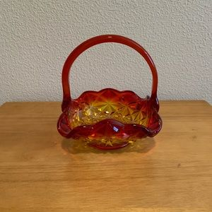 Red & Yellow Glass Square Basket